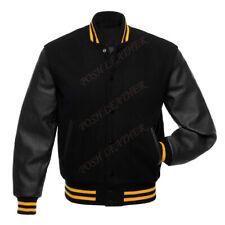 Men Varsity Letterman Baseball Jacket School College Boy Wool & Original Leather