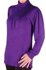 Womens Polo Neck Long Sleeve Casual Plain Hip Length Plus Size Blouse Tunic Top