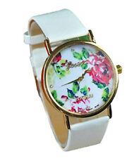 GENEVA Rose Flower Watch for Women Quartz Dress Watch and Mens Black Metal watch
