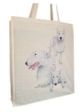 Bull Terrier White Group Cotton Shopping Bag Short or Long Handles Perfect Gift