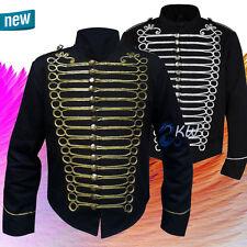 Handmade Men's Black Officer Military Drummer Parade Jacket Emo Punk Goth