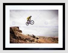 SPORT MOUNTAIN BIKE JUMP SKY BIG AIR BLACK FRAMED ART PRINT PICTURE B12X4834