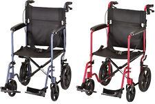 """Nova 19"""" Lightweight Folding Transport Chair Wheelchair 12″ Rear Wheels RED BLUE"""