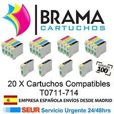 20X Cartuchos Compatibles NonOem Epson Stylus TO711-714 SX210 SX215 SX218 sx400