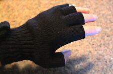 Men's Women's Wool Fingerless Gloves Made USA Black Blue Green Gray 1 Pair S M L