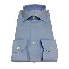 BRANCACCIO camisa de hombre celeste 100 % algodón DOBLE TRENZADO