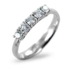 Anello fede fedina riviera oro bianco 18 kt. 5 diamanti ct. 0.58 goielli donna