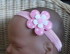 Babies Baby HEADBANDS HEADBAND Large Flower Spotty Spot Polka pink yellow purple