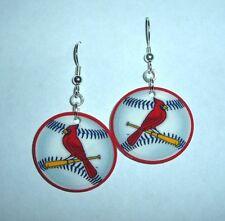 St Louis cardinal earrings red white bird on a bat baseball Saint Louis stadium