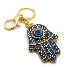 TB Blue Evil Eyes Good Luck Hamsa Turkish Woman Charm Purse Rhinestone Keychain