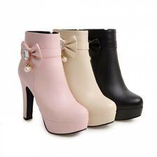 Women's Lolita Block High Heel Platform Bowknot Side Zip Ankle Boots Size 34-45