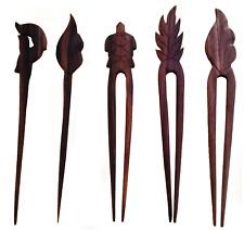 Fermacapelli forcina legno vari modelli delfino tartaruga foglia fuoco per donna