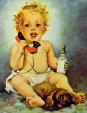 Baby on Phone Cocker Spaniel Dog Vintage Art Print Home Decor by Florence Kroger