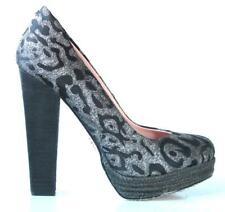 new BETSEY JOHNSON black/gray PLATFORMS high heels shoes