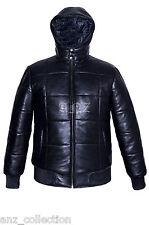 Men's Puffer Warmer Black Hooded Bomber Genuine Napa Soft Premium Leather Jacket
