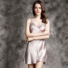 Women's 100% Silk Pajamas Sleepwear Sexy Spaghetti Strap Dress Homewear FX176