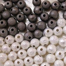 10 PERLES MÉTAL - granitées stardust - 2 choix - 8MM - ARGENTE FONCE ou CLAIR