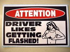 FUNNY WARNING DRIVER FLASH ATV BIKE QUAD SLED 4X4 TRUCK CAR STICKER DECAL 158