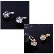 Women's Gold Silver Big Sparkle Heart CZ & Rhinestone Earrings Jewellery Gift UK