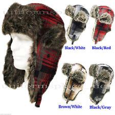 Hat Earflap Russian Trooper TRAPPER Plaid Faux Fur Hat 608 SKI BEANIE HAT CAP