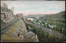 MOHAWK VALLEY NY Below Little Falls Antique 1908 Flag Cancel Postcard Railroad