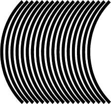 9mm wheel rim tape striping stripes stickers BLACK..(38 pieces/9 per wheel)