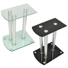 2pc Monitor Speaker Stand Safety Glass Studio Aluminum Pillar Transparent/Black