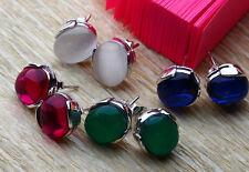 Women 925 Sterling Silver Natural Gemstone Jade garnet Stud earrings Gift Box D2