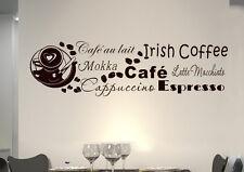 Parete Tatuaggio Parete Adesivo Muro FRASE Cafe Coffee cafe Caffè Cucina Cuore kf22