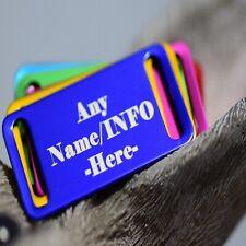 Engraved Pet Tags Dog Cat ID personalised Bone rectangle black Shape ring collar