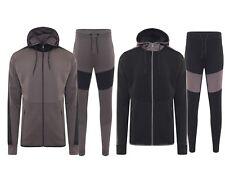 Mens Contrast Patch Tracksuit Set Fleece Hoodie Top Bottoms Jogging Joggers Gym