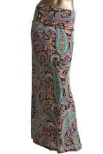 Maxi Skirt Yoga Fold Waist Silky Paisley Print Black Teal Purple Print  S M