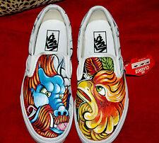 Custom TATTOO hand painted Men's sneakers VANS slip ons dragon oni phoenix Asian