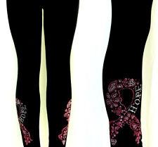 Plus Long Legging Rhinestone Embellished Pink Floral Breast Cancer Hope Ribbon