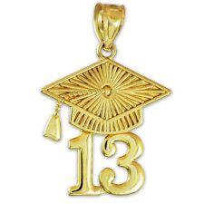 Gold Textured Class of 2013 Commencement Graduation Cap Charm Pendant