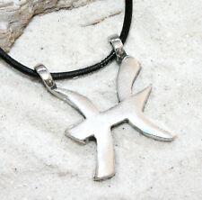 PISCES ZODIAC MARCH FEB Pewter Pendant Leather Necklace