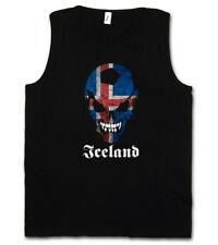 BLACK CLASSIC ICELAND FOOTBALL SOCCER SKULL FLAG TANK TOP Fan Hooligan Island
