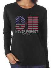 9-11-01 Never Forget Rhinestone Women's Long Sleeve Shirts Patriotic USA