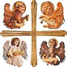 GROUPE SYMBOLES 4 évangélistes AVEC CROIX en bois 4 évangéliste with cross