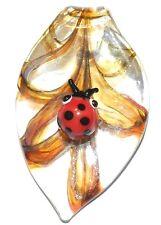 P1196 Ladybug Golden Yellow Sparkle Swirl 58mm Leaf Drop Lampwork Glass Pendant