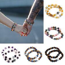Set Of 2 Crystal Gemstone Friendship Bracelets - Beads Ethnic Elastic Stretch