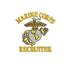 MARINE CORPS RECRUITER EMBROIDERED Polo Shirt OOHRAH EGA USMC Marines EMBROIDERY