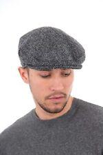 Mens Harris Tweed Wool Herringbone Design Country Flat Cap Hat