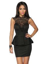 SEXY abito vintage con peplum abito da sera ricamo elegante nero S M L XL