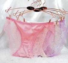 "Sexy Exotic French Lace Silky Soft Satin Front Sissy String Bikini sz S 20-34"""