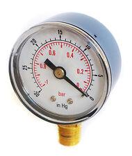 Calibrador de vacío de 50 mm Dial -30 * Hg & -1 / 0 bar 1/4 Bspt inferior y/o Manguera Tails