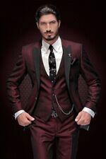 Mens Burgundy Suit Peak Lapel Tuxedos Grooms Wedding Dinner Formal Suit Custom