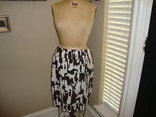 Trina Turk Los Angeles Brown & Cream Graphic Print penci straight Skirt 12 CUTE