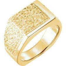 14K Yellow Gold Men's Signet Nugget Ring