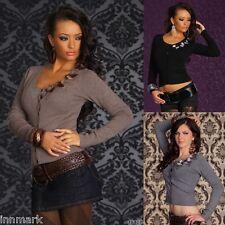 656 Stylish Women's Soft Knit Wool Blend Buttons Cardigan Jumper UK S/M L/XL